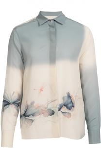 Шелковая блуза прямого кроя с цветочным принтом Valentino