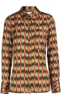 Блуза прямого кроя с контрастным принтом и накладным карманом Isabel Marant Etoile