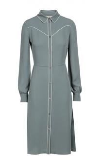 Шелковое платье-рубашка с контрастной отделкой Valentino