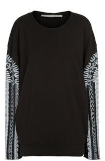 Шелковый удлиненный пуловер с контрастным принтом Raquel Allegra