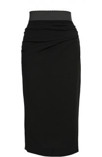 Юбка-карандаш с широким контрастным поясом Dolce & Gabbana