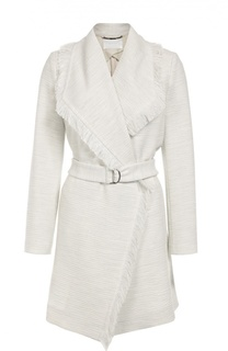 Пальто с поясом и широкими лацканами с бахромой BOSS