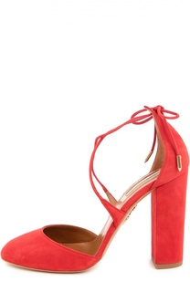 Замшевые туфли Karlie на устойчивом каблуке Aquazzura