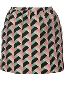 Мини-юбка с контрастным графичным принтом REDVALENTINO