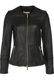 Приталенная кожаная куртка с карманами Michael Michael Kors
