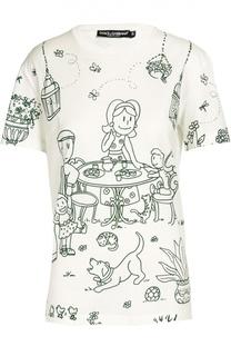 Хлоковая футболка прямого кроя с контрастным принтом Dolce & Gabbana
