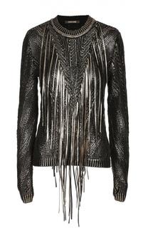 Пуловер с металлизированной отделкой и бахромой Roberto Cavalli
