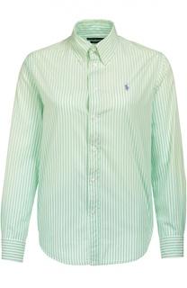 Блуза прямого кроя в полоску и вышитым логотипом бренда Polo Ralph Lauren