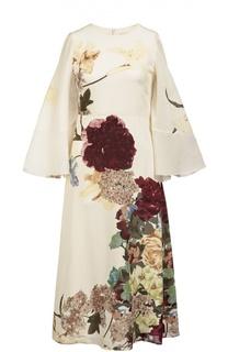Шелковое платье с цветочным принтом и кейпом Valentino