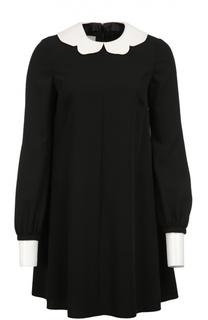Мини-платье свободного кроя с контрастными воротником и манжетами Valentino