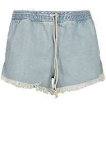 Джинсовые мини-шорты с бахромой и эластичным поясом Chloé