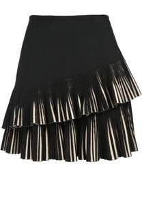 Мини-юбка с плиссированными оборками Alaia