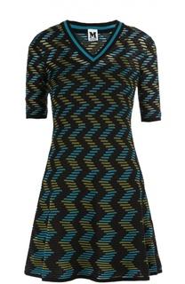 Вязаное мини-платье с коротким рукавом и V-образным вырезом M Missoni