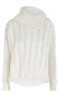 Кашемировый свитер крупной вязки с асимметричным воротником Cruciani