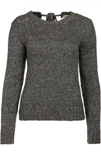 Вязаный пуловер с круглым вырезом и бантом на спинке No. 21
