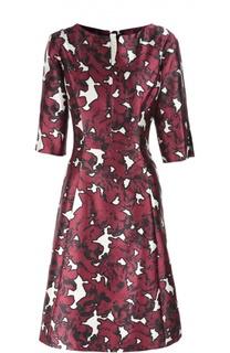 Приталенное платье с цветочным принтом и укороченным рукавом Oscar de la Renta