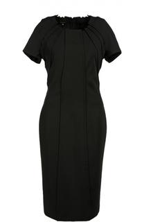 Приталенное платье с коротким рукавом и фактурной отделкой Escada