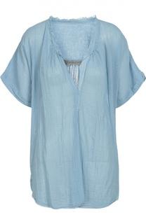 Блуза свободного кроя с V-образным вырезом и коротким рукавом Raquel Allegra