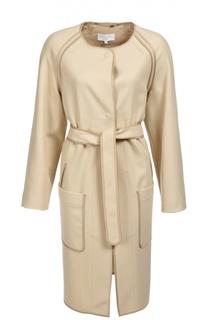 Пальто прямого кроя с поясом и накладными карманами Escada Sport