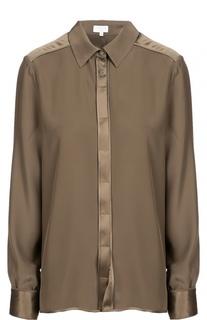 Шелковая блуза прямого кроя с контрастной отделкой Escada Sport