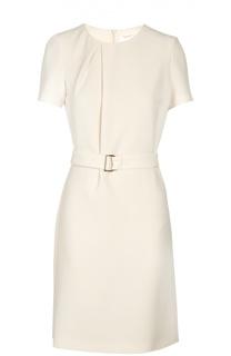 Приталенное платье с круглым вырезом и поясом BOSS