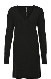 Шерстяное платье фактурной вязки с V-образным вырезом Raquel Allegra