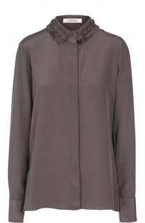 Шелковая блуза прямого кроя с декорированным оборками воротником Dorothee Schumacher