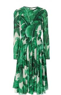 Приталенное шелковое платье с длинным рукавом и круглым вырезом Dolce & Gabbana
