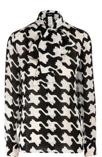 Шелковая блуза с принтом гусиная лапка и воротником-аскот Dsquared2