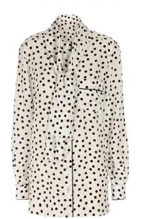 Шелковая удлиненная блуза в горошек с воротником-аскот Dolce & Gabbana