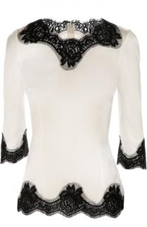Шелковая приталенная блуза с кружевной отделкой Dolce & Gabbana