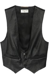 Кожаный укороченный жилет и карманами Saint Laurent