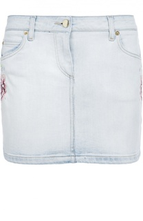 Джинсовая мини-юбка с цветочной вышивкой Roberto Cavalli