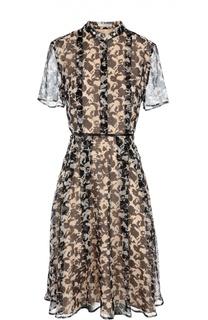 Приталенное платье-рубашка с воротником-стойкой BOSS
