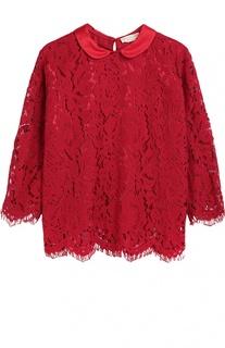 Кружевная блуза с отложным воротником Monnalisa