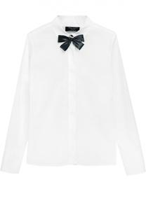 Хлопковая блуза с брошью Dal Lago