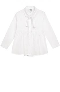 Блуза с бантом из эластичного хлопка Aletta