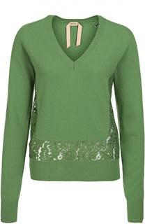 Пуловер прямого кроя с кружевной вставкой и V-образным вырезом No. 21