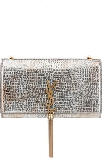 Сумка Monogram Kate medium из металлизированной кожи с тиснением под крокодила Saint Laurent