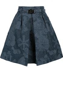 Мини-юбка со складкой и поясом Kenzo