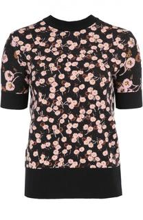 Пуловер прямого кроя с цветочным принтом и открытой спиной Marni