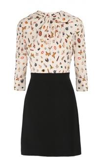 Приталенное мини-платье с контрастным принтом и вырезом-капелька Alexander McQueen