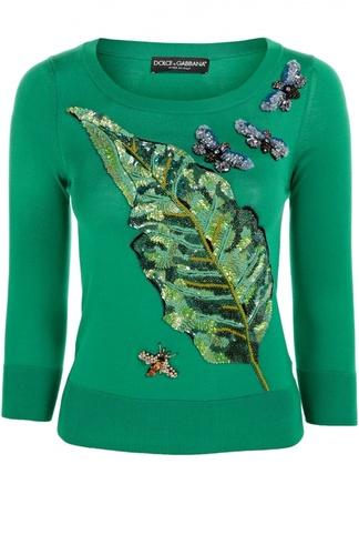 Шелковый пуловер с укороченным рукавом и вышивкой Dolce & Gabbana