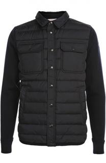 Пуховая куртка с трикотажными рукавами Moncler