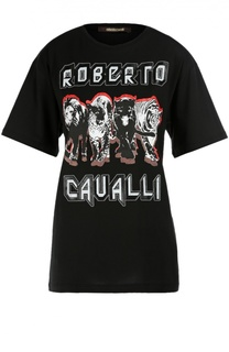 Хлопковая удлиненная футболка с контрастным принтом Roberto Cavalli
