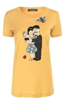 Удлиненная футболка с вышивкой и аппликацией Dolce & Gabbana