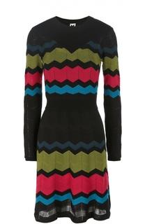 Приталенное мини-платье в контрастную полоску с длинным рукавом M Missoni