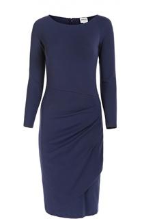 Облегающее платье с вырезом-лодочка и драпировкой Armani Collezioni