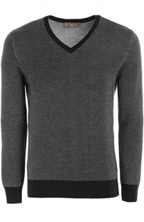Шерстяной пуловер с контрастными манжетами Cruciani