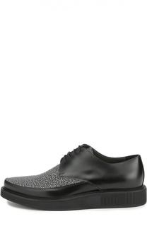 Кожаные туфли с контрастным мысом Lanvin